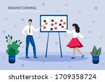 team thinking and brainstorming....   Shutterstock .eps vector #1709358724