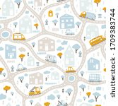 baby city map with roads and... | Shutterstock .eps vector #1709383744