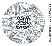 wash your hands calligraphy... | Shutterstock .eps vector #1709392711