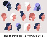 female faces collection  user... | Shutterstock .eps vector #1709396191