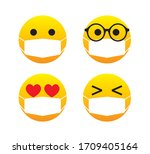 Emoticons Wearing Mask  Vector...