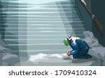 homeless sitting at underground ... | Shutterstock .eps vector #1709410324