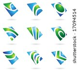 green glossy logos and graphic... | Shutterstock . vector #17094514