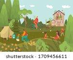 happy family outdoor in park... | Shutterstock .eps vector #1709456611