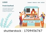 fresh fish and seafood sale... | Shutterstock .eps vector #1709456767