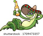 cartoon iguana with mexican... | Shutterstock .eps vector #1709473357