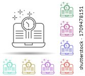 notebook clock multi color icon....