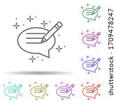chat pencil multi color icon....