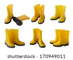 set 6 pair of yellow gumboots... | Shutterstock . vector #170949011