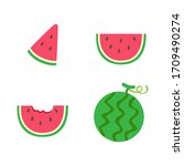 watermelon set isolated on...   Shutterstock .eps vector #1709490274