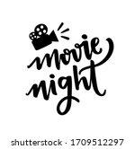 movie night words in hand... | Shutterstock .eps vector #1709512297