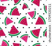 Watermelon Flat Vector...