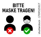 """bitte maske tragen  """"please...   Shutterstock .eps vector #1709525317"""
