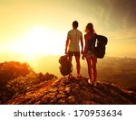 hikers with backpacks relaxing... | Shutterstock . vector #170953634