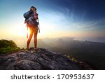 young lady hiker standing with... | Shutterstock . vector #170953637