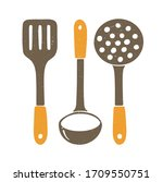 Cute Kitchen Set. Brown Spatula ...