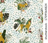 seamless pattern with wild... | Shutterstock .eps vector #1709564824