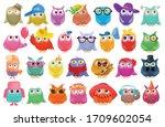 owl vector cartoon set icon.... | Shutterstock .eps vector #1709602054