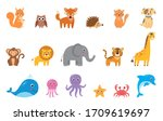 big set of cute cartoon vector... | Shutterstock .eps vector #1709619697