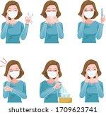 woman sick mask set. patient...   Shutterstock .eps vector #1709623741