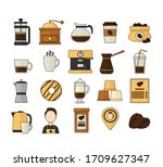 coffee icons. coffee maker...