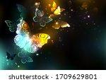 night glowing butterflies on...   Shutterstock .eps vector #1709629801