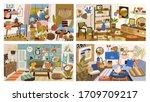 set of various modern interior... | Shutterstock .eps vector #1709709217