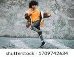 Stylish Millennial Guy Dancing...