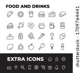 food and drinks line icons.... | Shutterstock .eps vector #1709764441