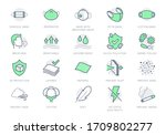 medical masks line icons.... | Shutterstock .eps vector #1709802277