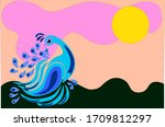 tropical blue peacock under the ... | Shutterstock .eps vector #1709812297