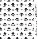 skull pattern seamless. ... | Shutterstock .eps vector #1709845231