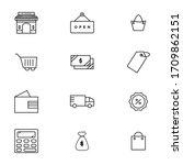 shopping icon set outline style ...