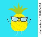 pineapple fruit icon leaf... | Shutterstock .eps vector #1709886334