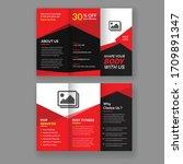 fitness gym tri fold brochure...   Shutterstock .eps vector #1709891347