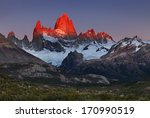Small photo of Mount Fitz Roy, alpenglow, first rays of sunrise. Los Glaciares National Park, Patagonia, Argentina