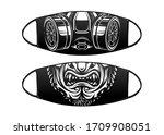 virus protection black mask... | Shutterstock .eps vector #1709908051