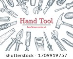 hand tools top view frame.... | Shutterstock .eps vector #1709919757