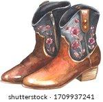 Woman Cowboy Boots. Watercolor...