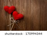 love hearts on wooden texture... | Shutterstock . vector #170994344