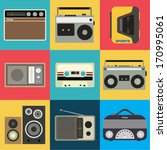 flat design retro objects | Shutterstock .eps vector #170995061