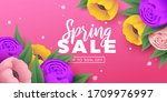 spring sale background with... | Shutterstock .eps vector #1709976997