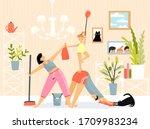 family inside room doing... | Shutterstock .eps vector #1709983234