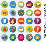set of food icons in flat... | Shutterstock .eps vector #170998565