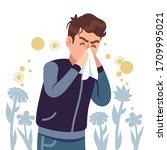 sneezing man. spring allergy ...   Shutterstock .eps vector #1709995021
