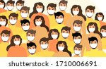 masked people  crowds  virus... | Shutterstock . vector #1710006691