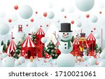 winter wonderland christmas... | Shutterstock .eps vector #1710021061