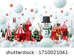 winter wonderland christmas... | Shutterstock .eps vector #1710021061