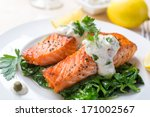 Grilled Salmon Steak  With...