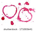 two hearts from red wine stains | Shutterstock . vector #171003641